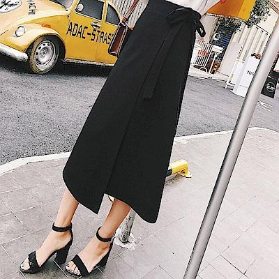 La Belleza素面鬆緊腰側綁帶不對稱拼接一片闊腿褲裙