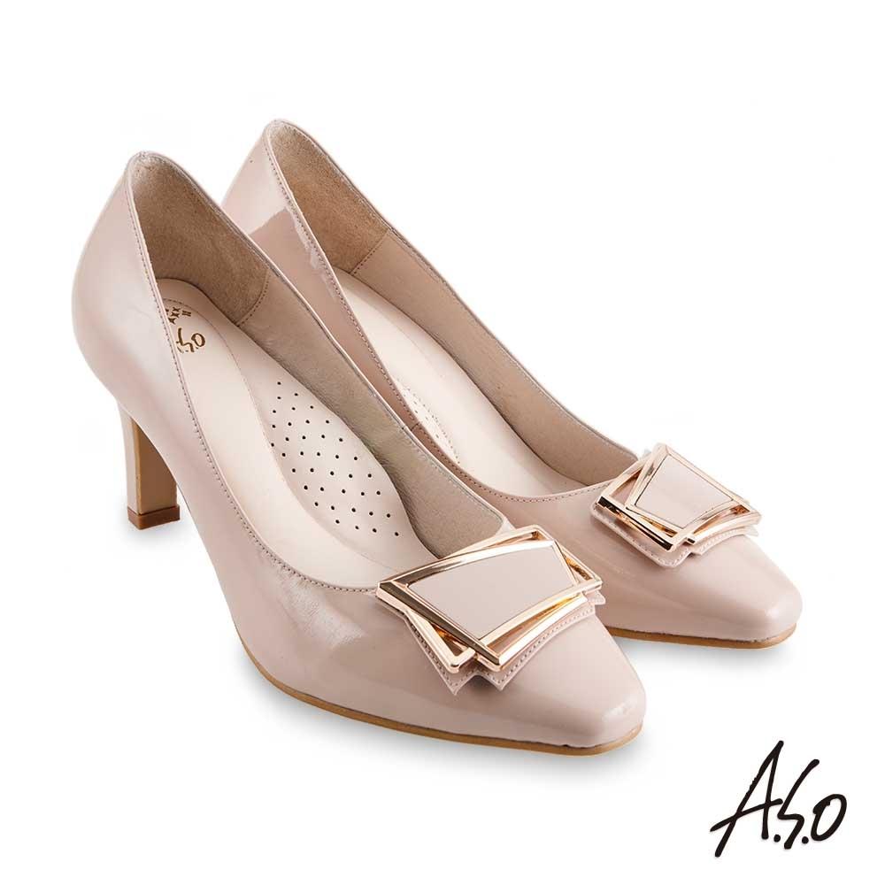 A.S.O 職場通勤 健步通勤都會時髦飾釦高跟鞋-米