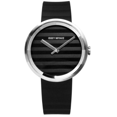 ISSEY MIYAKE PLEASE 三宅一生 時裝百摺防水橡膠手錶-銀x黑/40mm