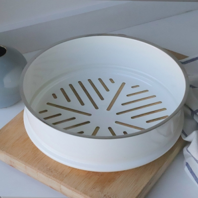 JIA Inc.虹彩鋼 不鏽鋼琺瑯蒸籠盤24cm(白色)(快)