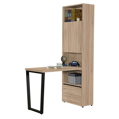 文創集 納多德 現代4尺單門單抽書桌+書櫃組合-120x60x197cm免組