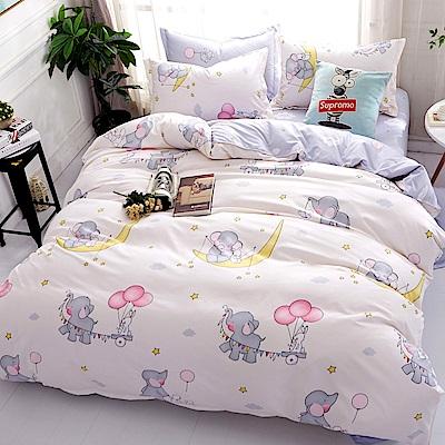 La Lune 台灣製經典超細雲絲絨雙人加大兩用被床包四件組 萌象派對