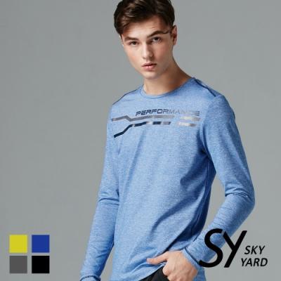 【SKY YARD 天空花園】線條印花運動長袖上衣T恤-藍色