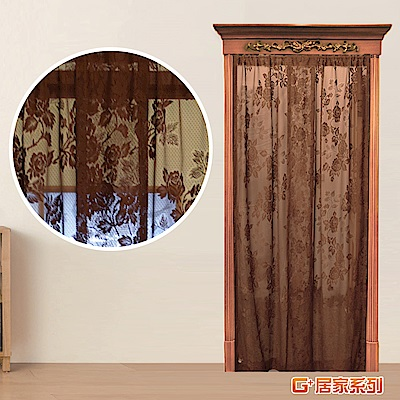 【G+居家】透氣窗紗防蚊門簾(玫瑰藤蔓- 深咖啡)