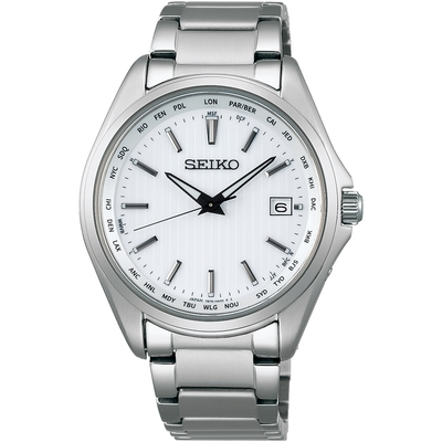 SEIKO 精工 SPIRIT太陽能鈦金屬電波銀色鋼帶錶39.5mm(SBTM287J/7B75-0AA0S )
