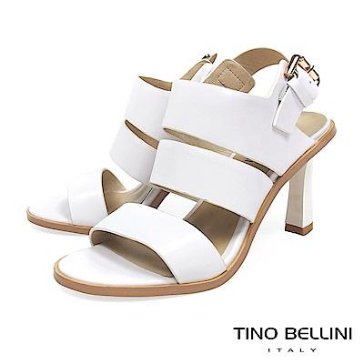 Tino Bellini 知性復古氣息純色高跟涼鞋 _ 白