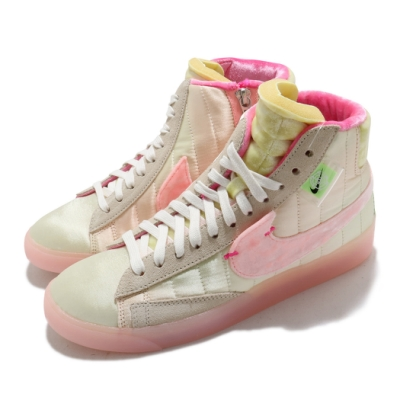 Nike 休閒鞋 Blazer Mid Rebel 女鞋 基本款 簡約 絨布 質感 穿搭 米白 粉 DD8482163