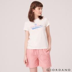 GIORDANO 女裝SUN AND SEA系列印花短袖T恤-01 標誌白