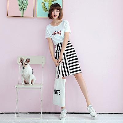黑白直橫條紋造型高腰中長裙-OB大尺碼