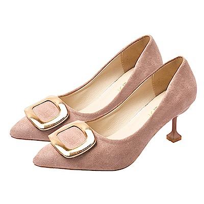 KEITH-WILL時尚鞋館 明星同款波濤花香細跟鞋-粉色