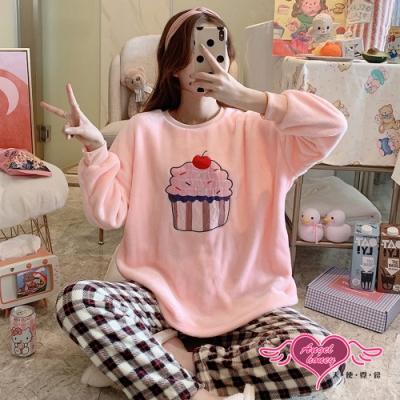 保暖睡衣 繽紛蛋糕 法蘭絨睡衣 居家保暖兩件式成套睡衣 (粉色F)   AngelHoney天使霓裳