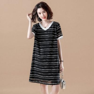 配色V領黑白橫條紋顯瘦雪紡洋裝XL-5XL-KVOLL