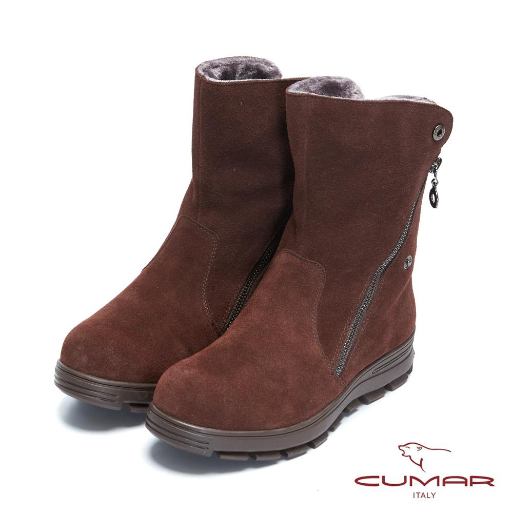 【CUMAR】率性柔美-拉鍊2WAY翻摺內增高厚底雪靴