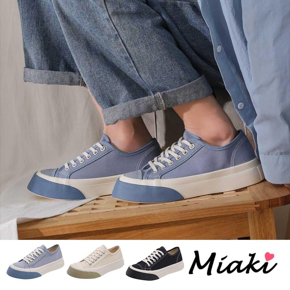Miaki-帆布鞋.圓頭加厚底舒適休閒鞋 (藍色系)
