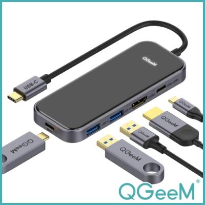 【美國QGeeM】Type-C五合一PD/USB-C/HDMI多功能轉接器 鏡面黑