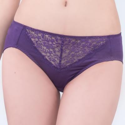 思薇爾 深V誘惑系列M-XXL蕾絲中腰三角內褲(火星紫)