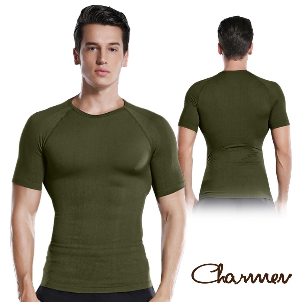 Charmen NY128圓領X字挺背收腹短袖 男性塑身衣 軍綠