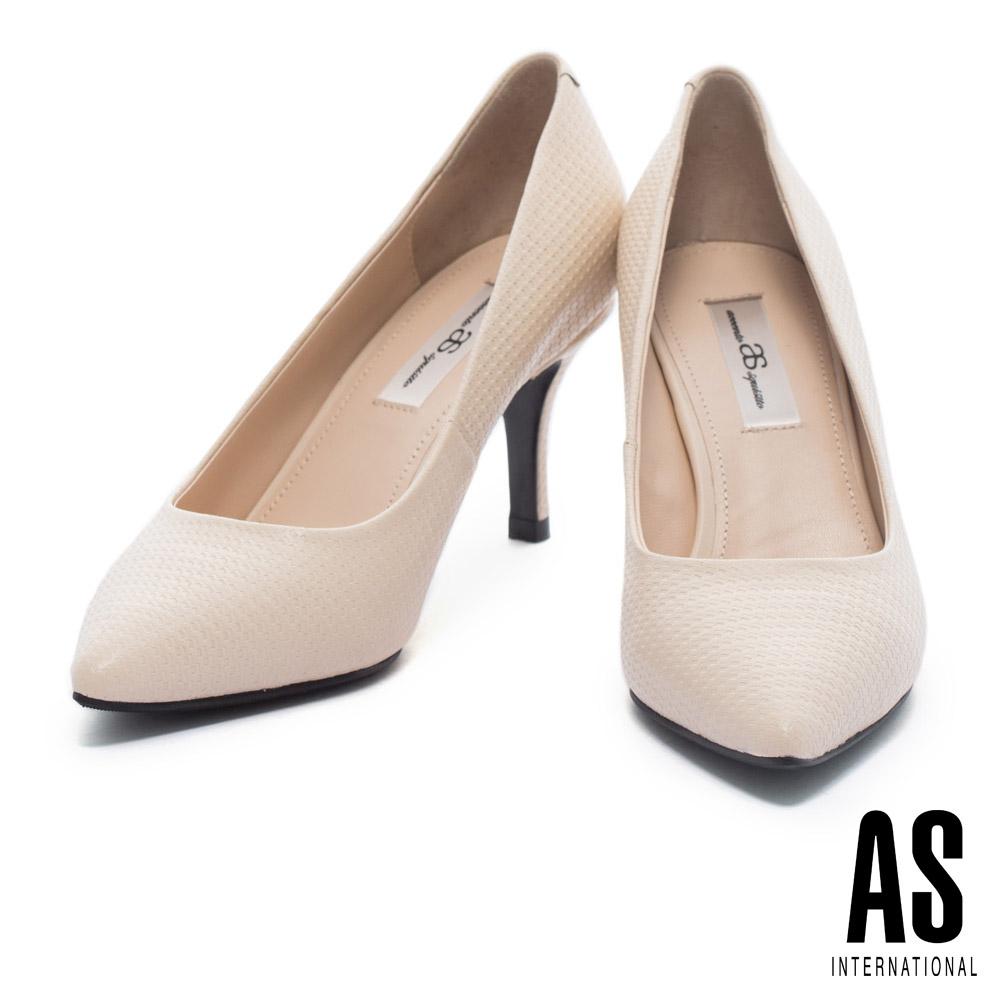 高跟鞋 AS 簡約雅緻壓紋牛皮尖頭高跟鞋-米