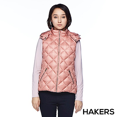 【HAKERS】女款 羽絨背心(豆粉)