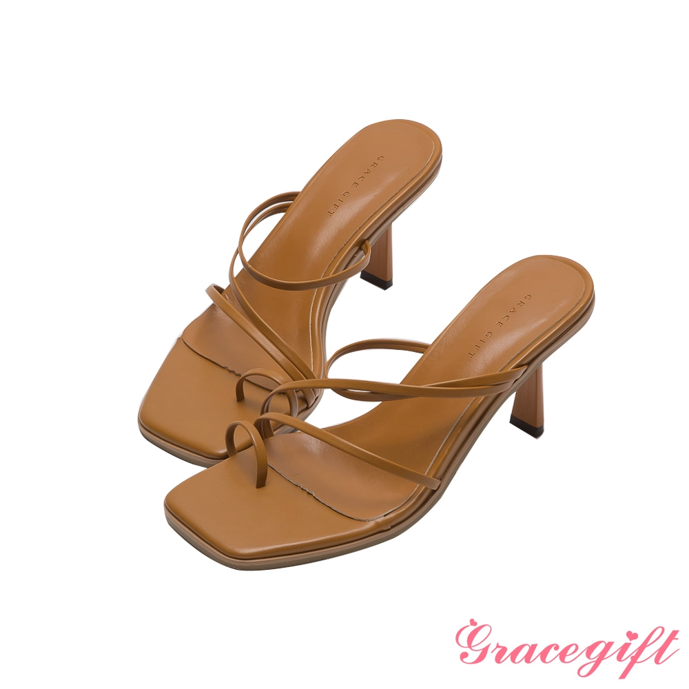 Grace gift-Z字細帶套趾中跟涼拖鞋 棕