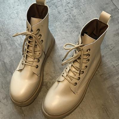 KEITH-WILL時尚鞋館綁帶防潑水機車靴圓頭粗跟短靴-米色