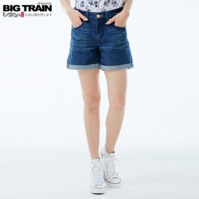 BigTrain 中高腰流水紫櫻短褲-女-藍色
