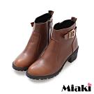 Miaki-短靴經典單扣拉鍊中跟踝靴-咖啡