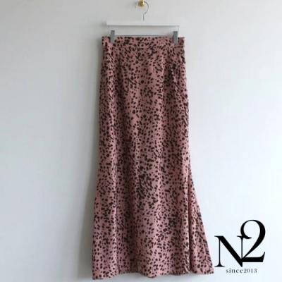 下著 正韓豹紋雪紡下擺開衩後彈性長裙(紅底黑紋)N2