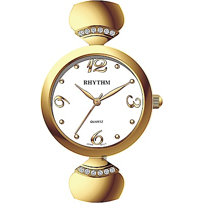 RHYTHM 日本麗聲 優雅風采手鍊女錶-白x金/33mm