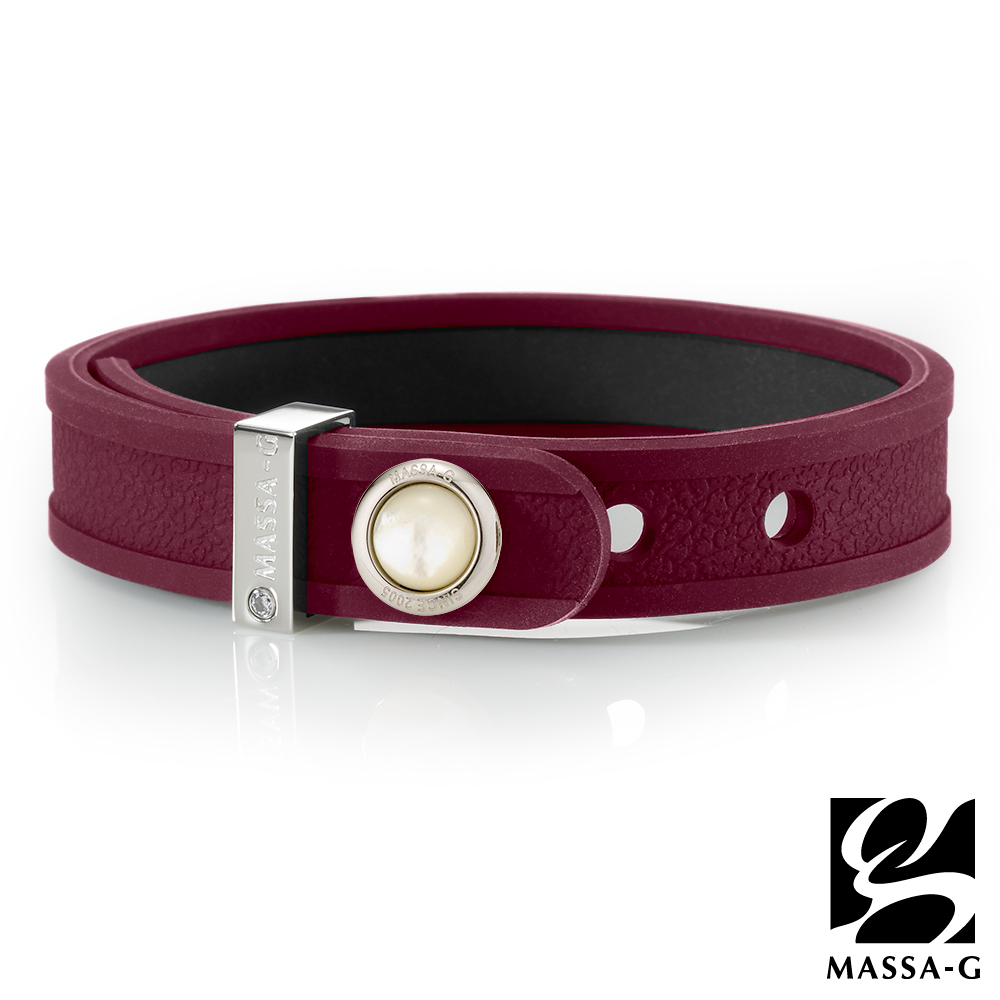 MASSA-G ONLY U唯你天然石鍺鈦手環-品牌革紋(紅)