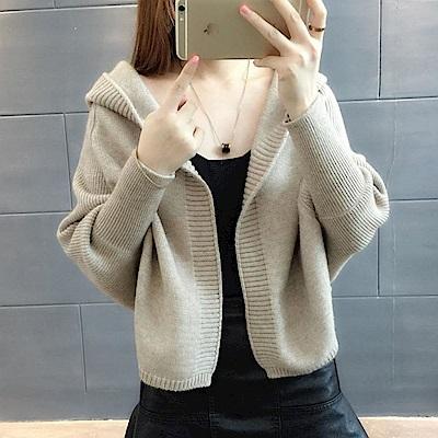 La Belleza素色羅紋連帽蝙蝠袖束袖針織毛料開衫短外套