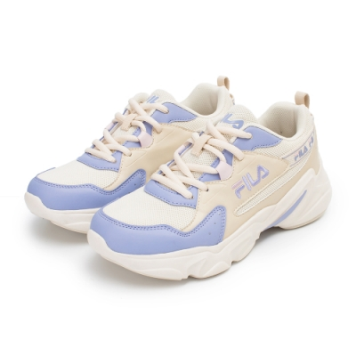 【FILA】HIDDEN TAPE 2 復古慢跑鞋 女鞋-米/紫(5-J329V-199)