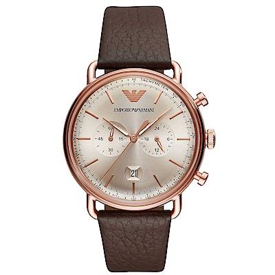 Emporio Armani 質感計時真皮手錶(AR11106)-玫瑰金/43mm
