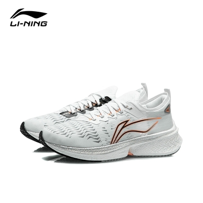 LI-NING 李寧飛電Discovery男子反光一體織穩定競速跑鞋 標準白 (ARMR005-1)