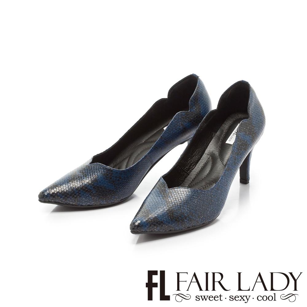 FAIR LADY 優雅小姐MissElegant桃心鞋口側v曲線尖頭高跟 蛇紋藍