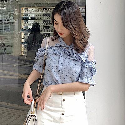DABI 韓系雪紡衫波點蝴蝶結襯衫短袖上衣