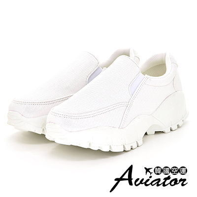 Aviator韓國空運-顯瘦私藏超厚底透氣懶人鞋-白