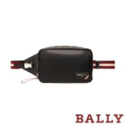 BALLY BLANEY FOLYS 防潑水尼龍紅白織帶雙層腰包-黑
