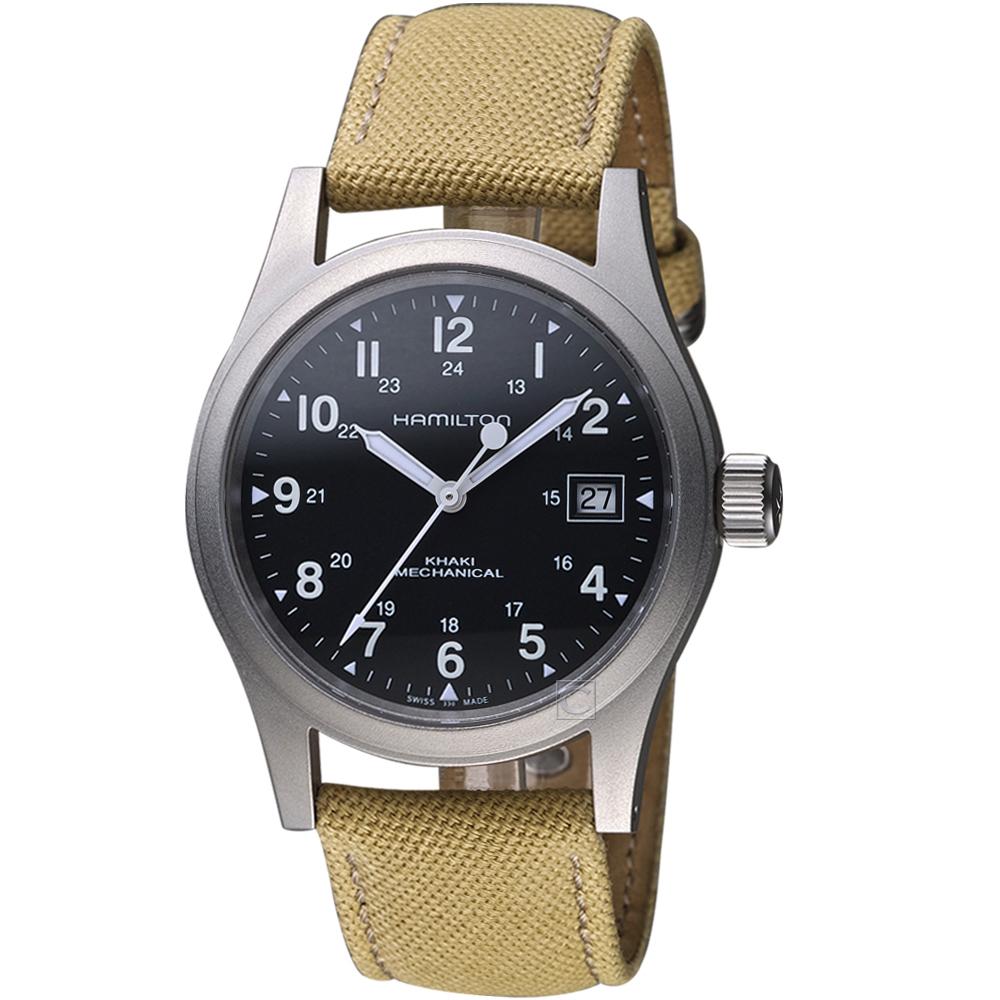 Hamilton漢米爾頓卡其野戰系列軍事機械錶(H69439933)-38mm/米黃色