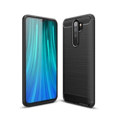 PKG 紅米Note8Pro手機殼時尚碳纖紋路+抗指紋-精緻黑