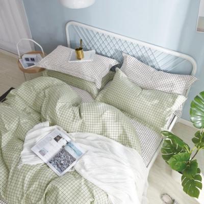 La Lune MIT頂級精梳棉200織紗雙人床包被套四件組 薄荷方格