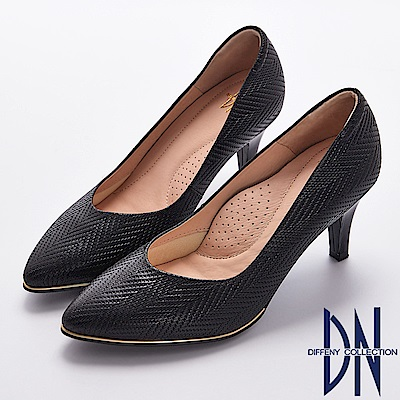 DN 知性優雅 MIT柔軟羊皮金邊點綴尖頭鞋-黑
