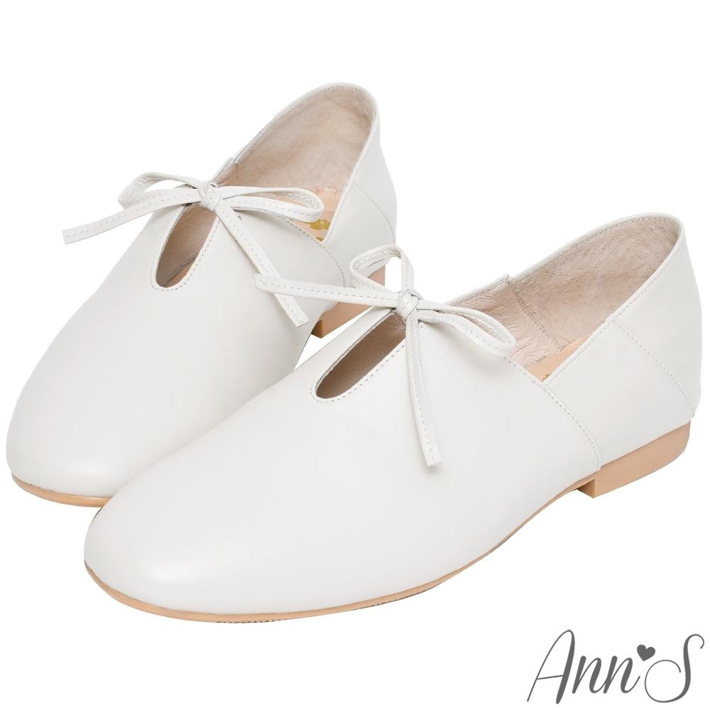 Ann'S超柔軟綿羊皮-芭蕾蝴蝶結兩穿穆勒平底便鞋-米白