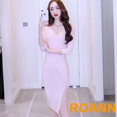 性感深V純色開衩包臀七分袖洋裝 (共二色)-ROANN