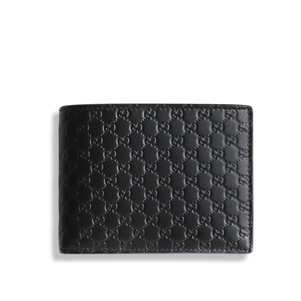 GUCCI Guccissima 壓紋對折10卡雙鈔層對折短夾(黑色)