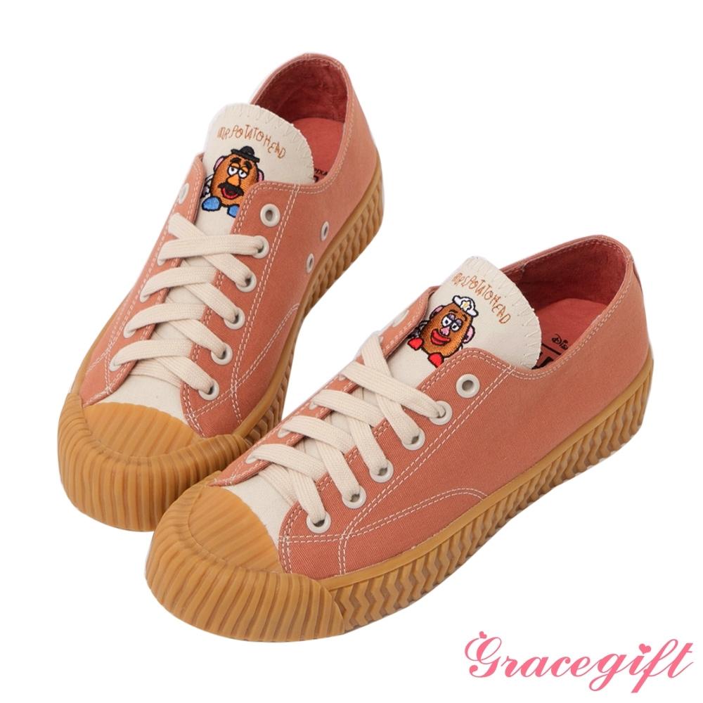 Disney collection by gracegift-玩總蛋頭夫婦帆布餅乾鞋 紅棕