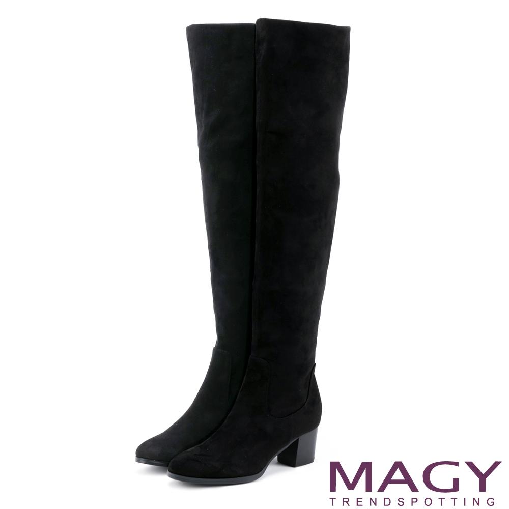 MAGY 展現獨特風采 2WAY絨布高跟過膝靴-黑色