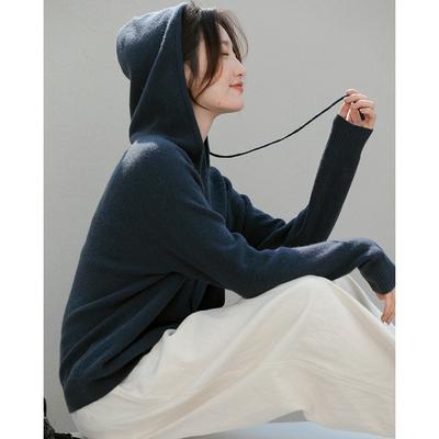 羊絨般軟糯328克100%澳洲羊毛連帽毛衣長袖上衣-設計所在