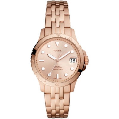 FOSSIL FB-01 個性時尚大三針鍊帶女錶(ES4748)-玫瑰金x36mm