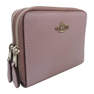 COACH 全牛皮雙拉鍊ㄇ型拉鍊零錢袋短夾(木槿紫)